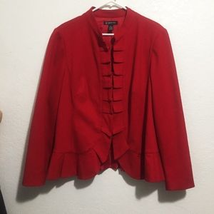 INC INTERNATIONAL CONCEPT RED PLEATED FRONT BLAZER